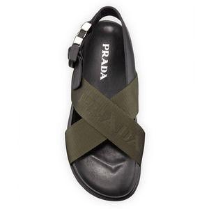 Prada Olive Logo Sport Chunky Dad Sandal